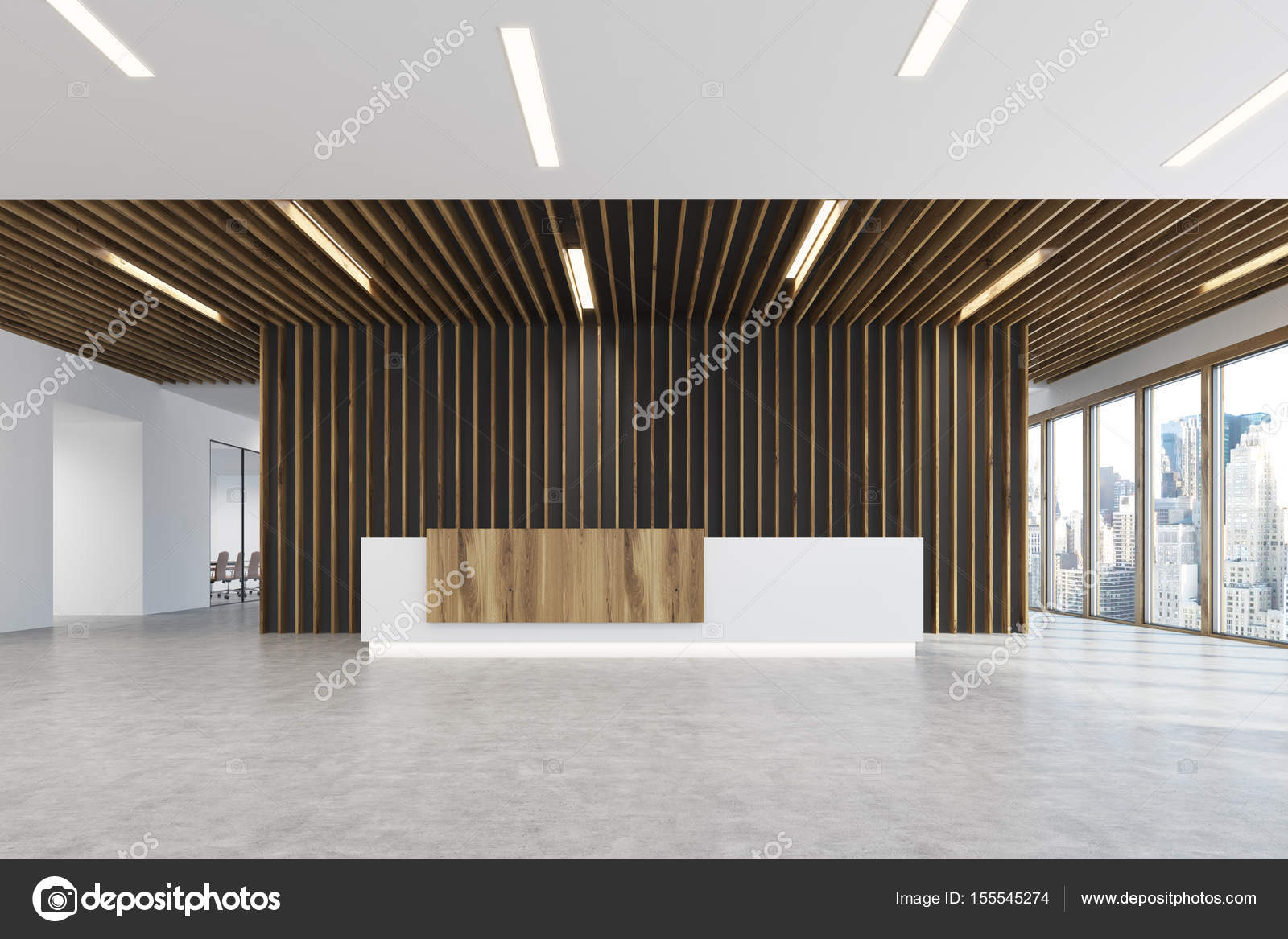 Reception Ufficio Bianco : Reception ufficio luce di legno bianco e luce u foto stock