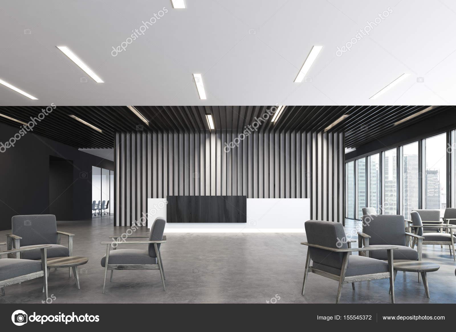 Ufficio Bianco E Legno : Bianca e nera della reception angolo poltrone u foto stock
