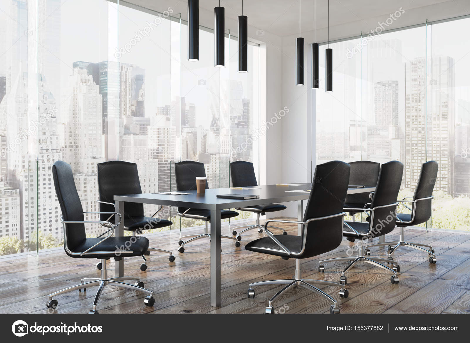 Corner Of A Modern Meeting Room Interior With Long Table Black Office Chairs Standing Near It And Glass Wall 3d Rendering Photo By Denisismagilov