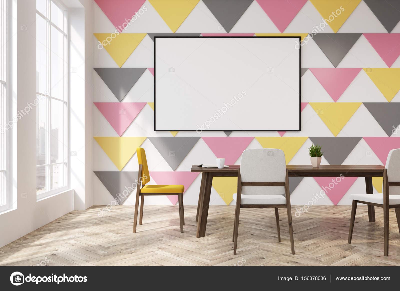 Driehoek patroon eetkamer of kantoor rechthoek u stockfoto