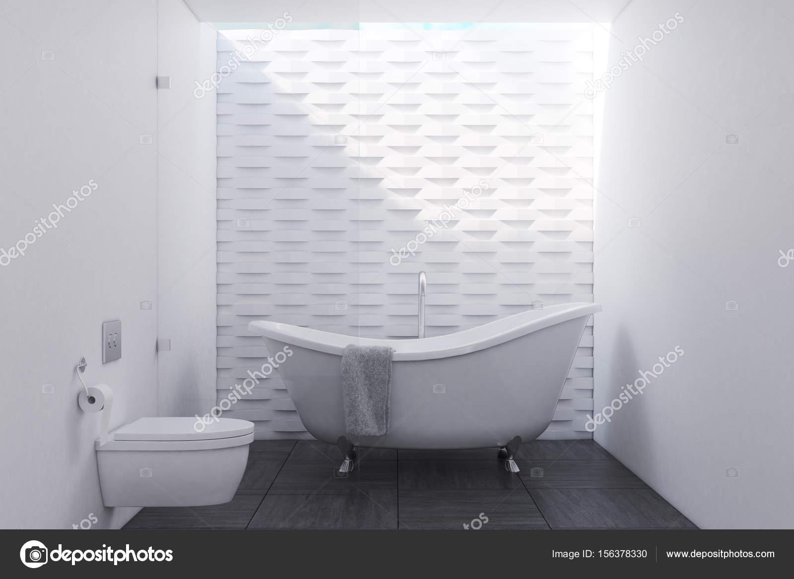 Brique Blanche Salle De Bain Avec Toilettes Photographie