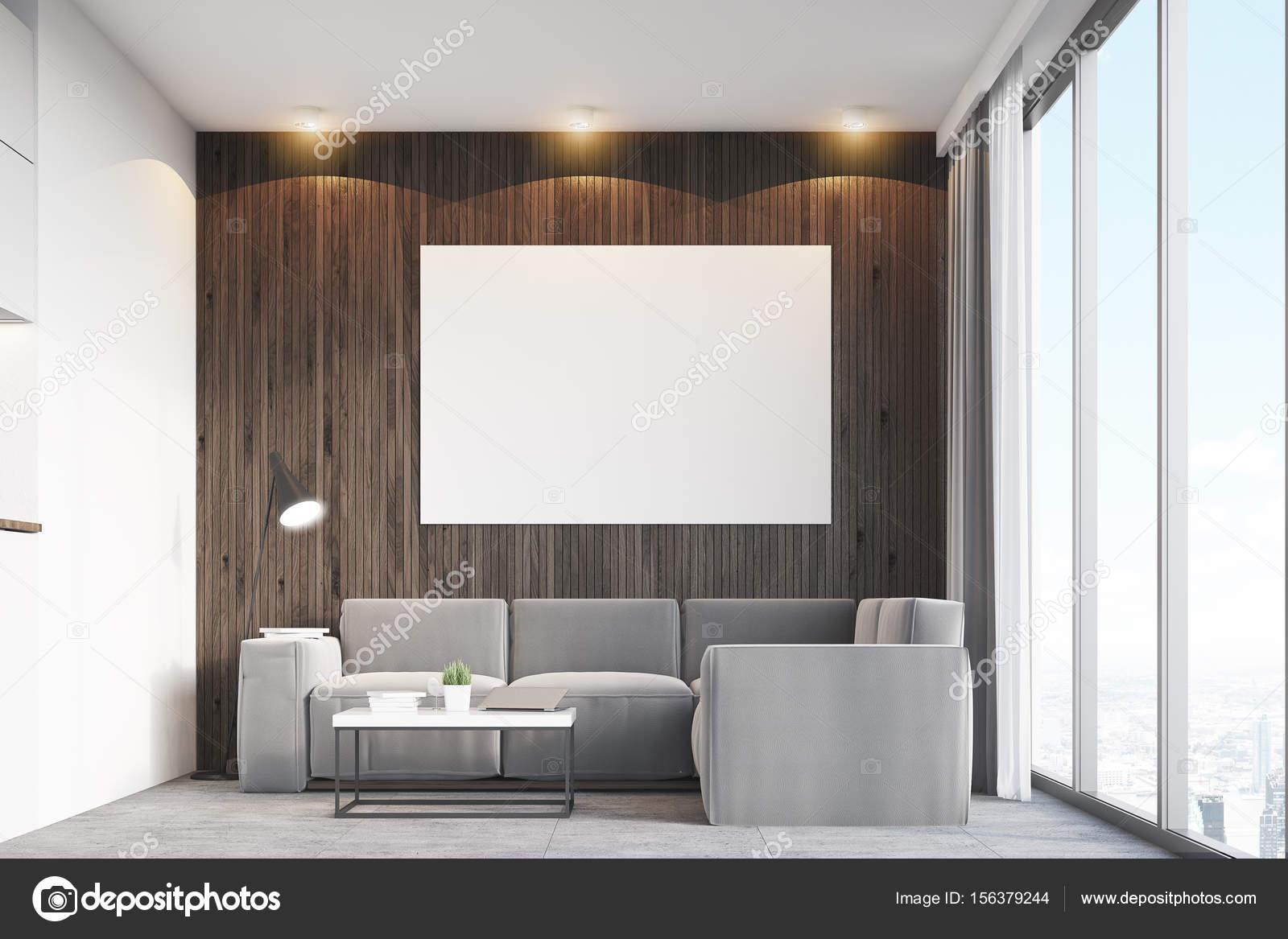 Dunkles Holz Wohnzimmer Und Poster U2014 Stockfoto