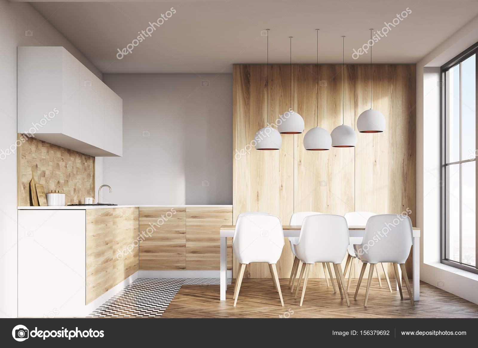 Lumineuse salle à manger en bois — Photographie ...