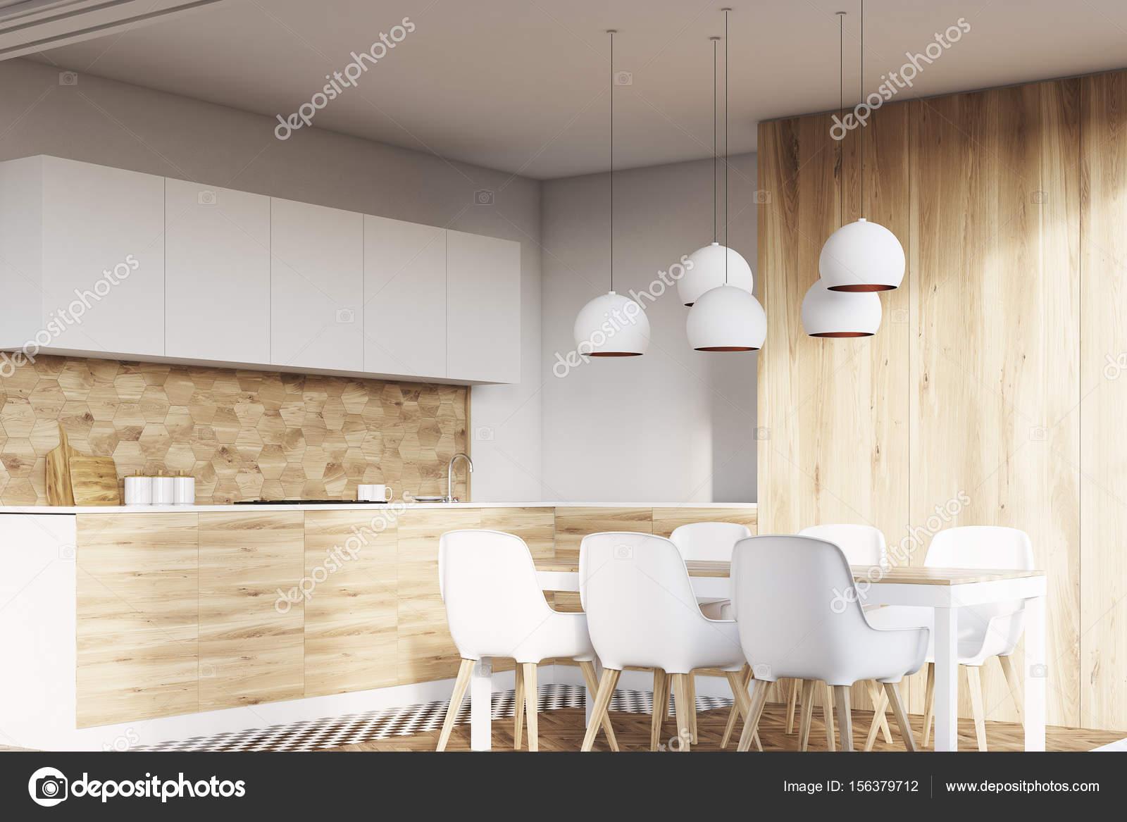 Lichte houten eetkamer hoek — Stockfoto © denisismagilov #156379712