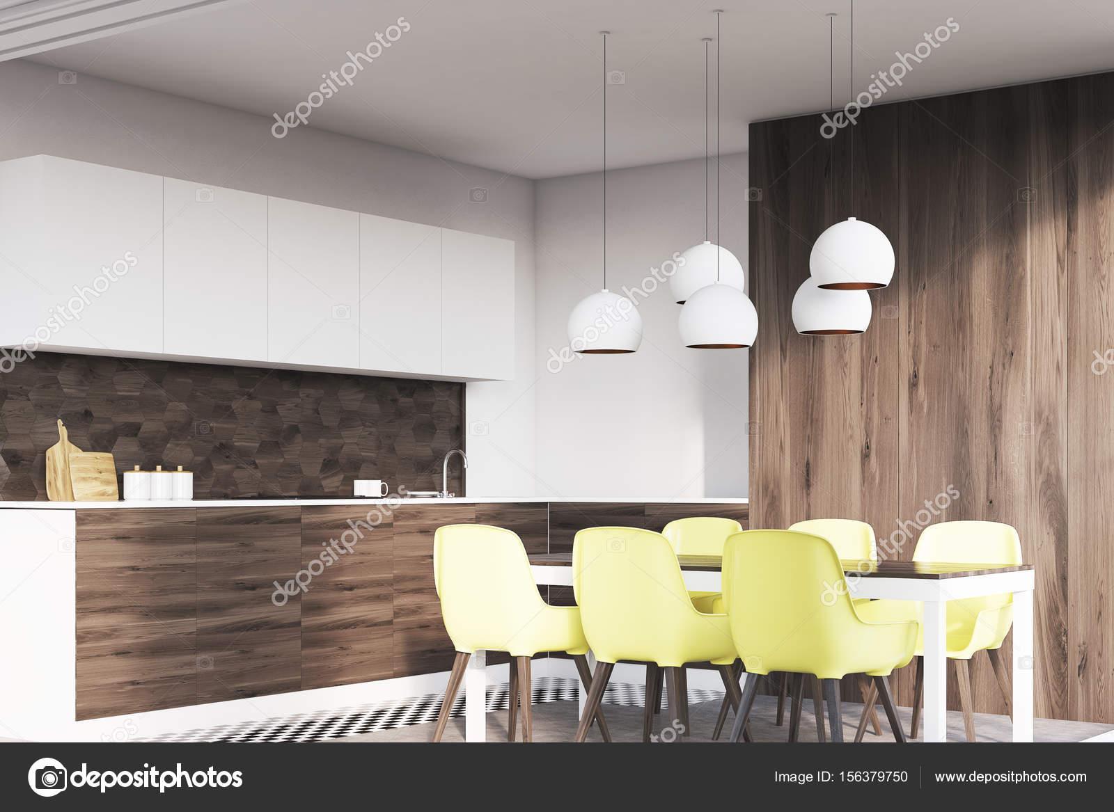 Donkere houten eetkamer hoek — Stockfoto © denisismagilov #156379750