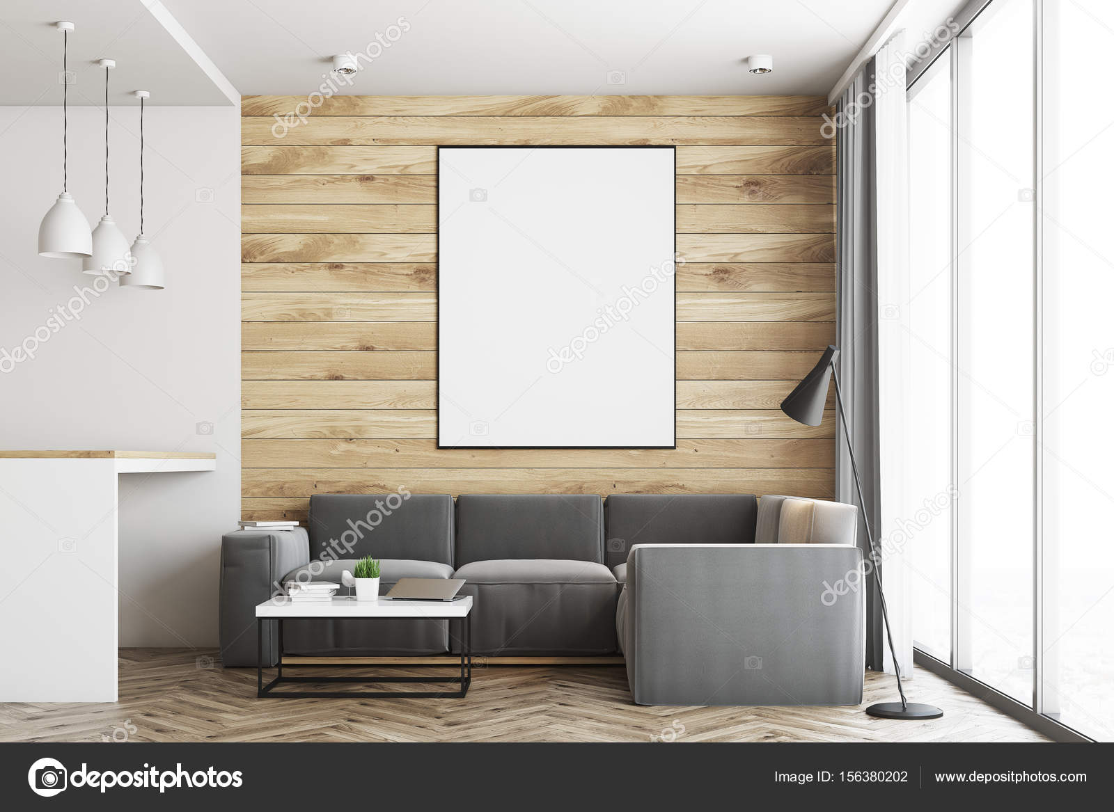 Living room and kitchen, wood close up — Stock Photo ...