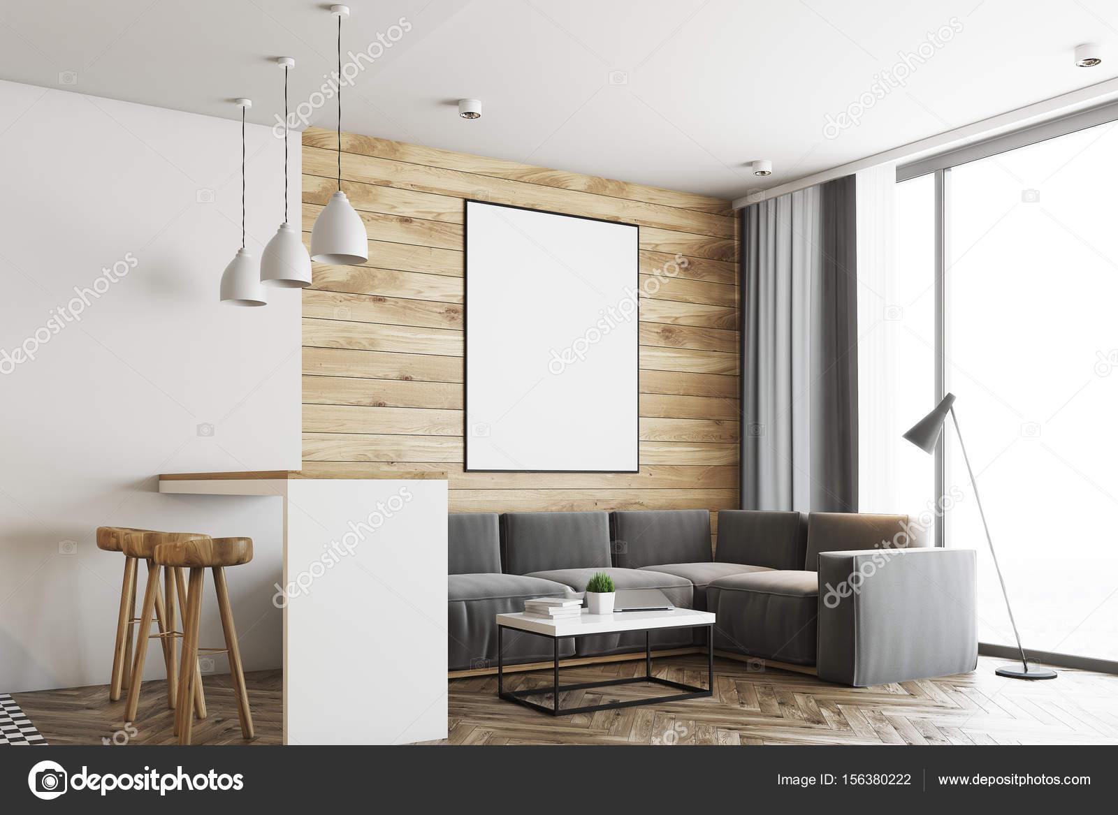Hout In Woonkamer : Woonkamer met hout in orde gemaakte vensters stock foto