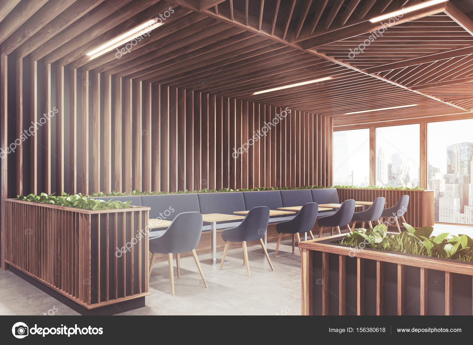 Blue chair cafe wooden interior side toned u2014 Stock Photo & Blue chair cafe wooden interior side toned u2014 Stock Photo ...