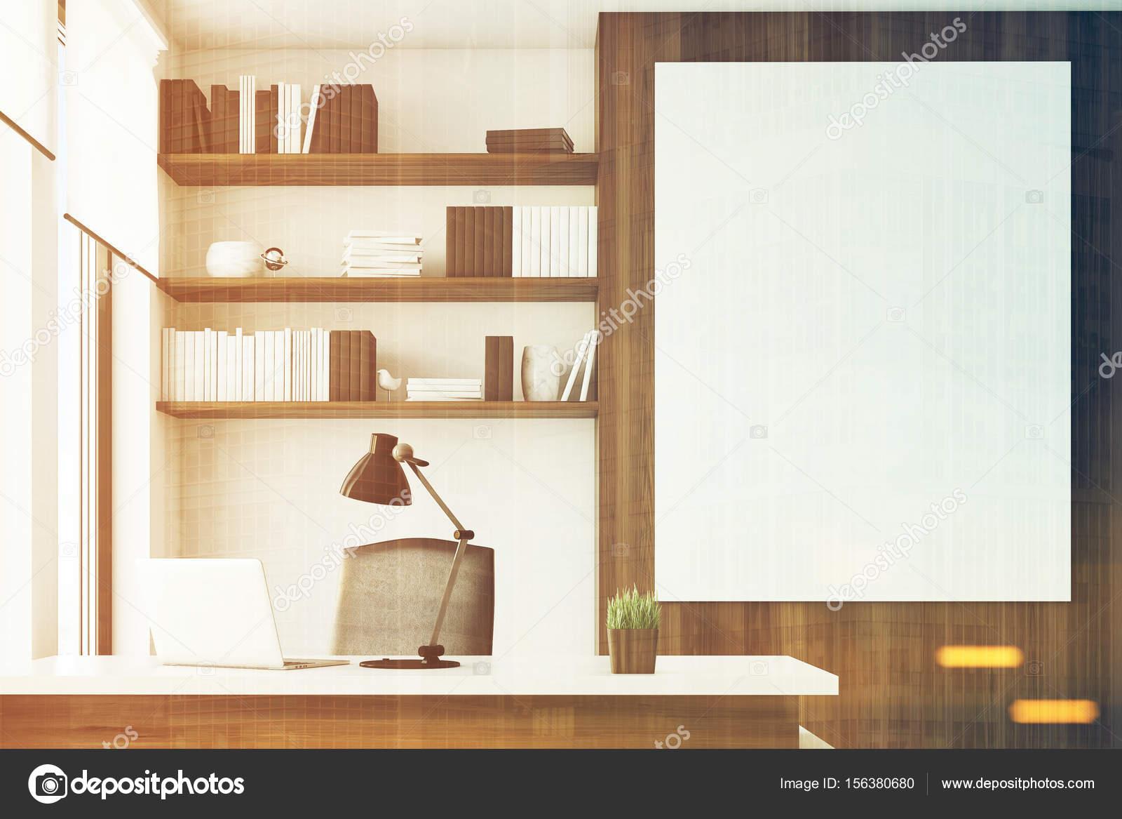 Bureau en bois foncé close up tonique u photographie