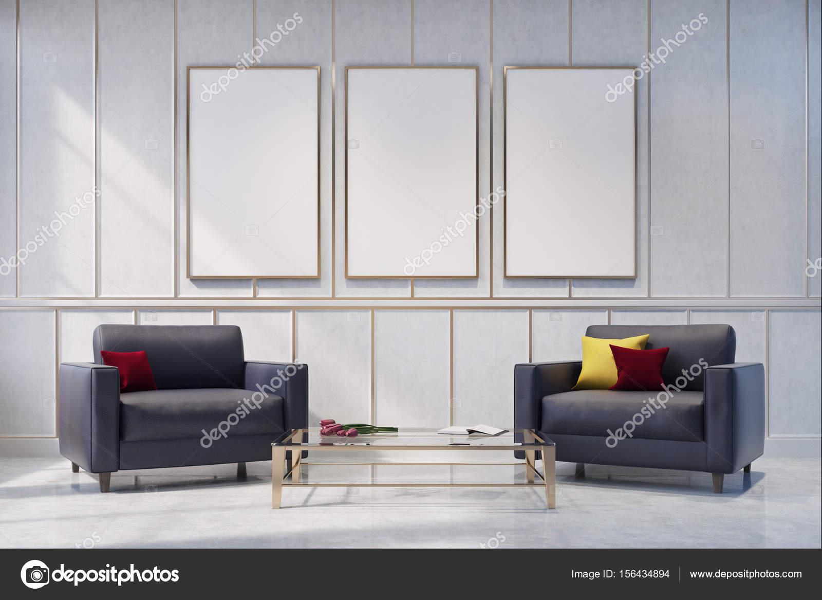 Duas Poltronas De Cinza Em Uma Sala De Estar Branca Stock Photo  -> Parede Galeria Sala