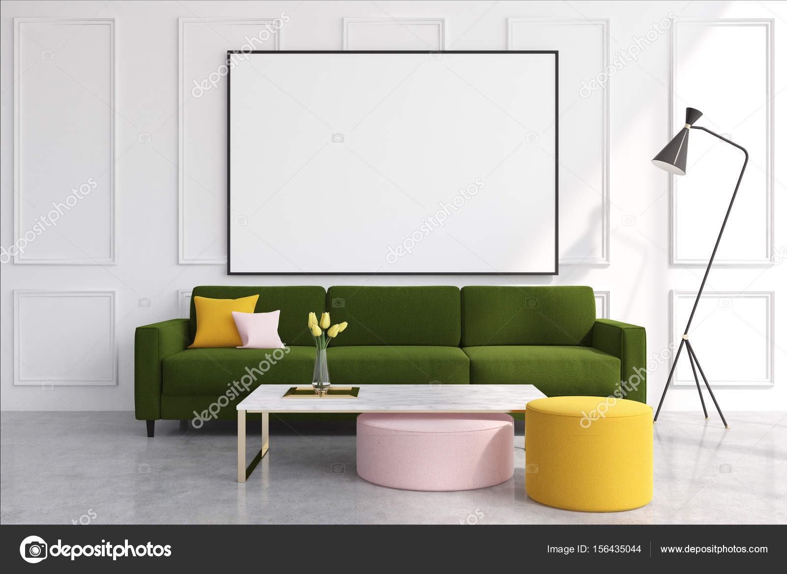 Magnificent White Green Living Room Photo - Living Room Design Ideas ...