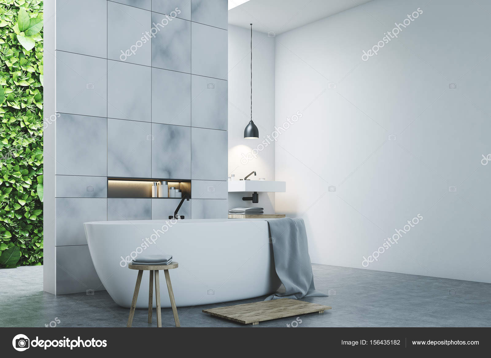 Eco bathroom two sinks, marble tiles side — Stock Photo ...