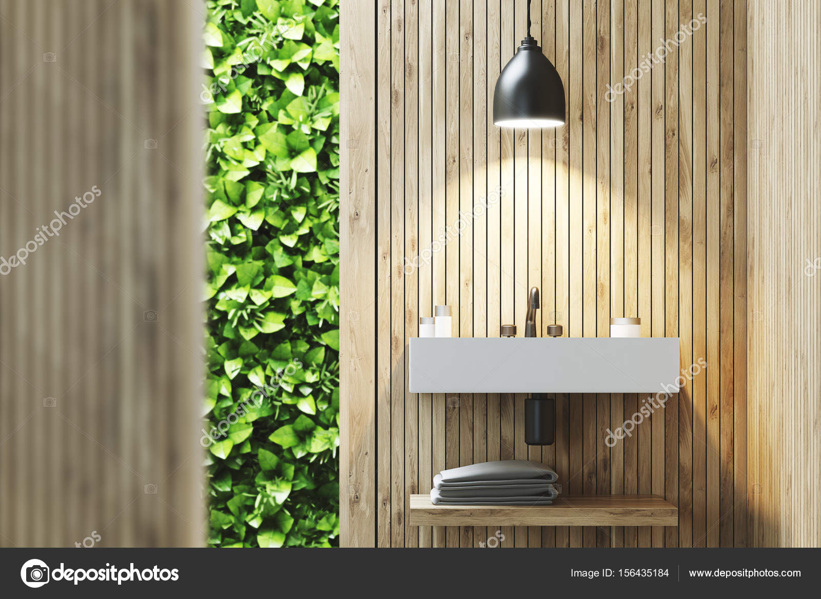 Eco badkamer met wastafel hout u2014 stockfoto © denisismagilov #156435184