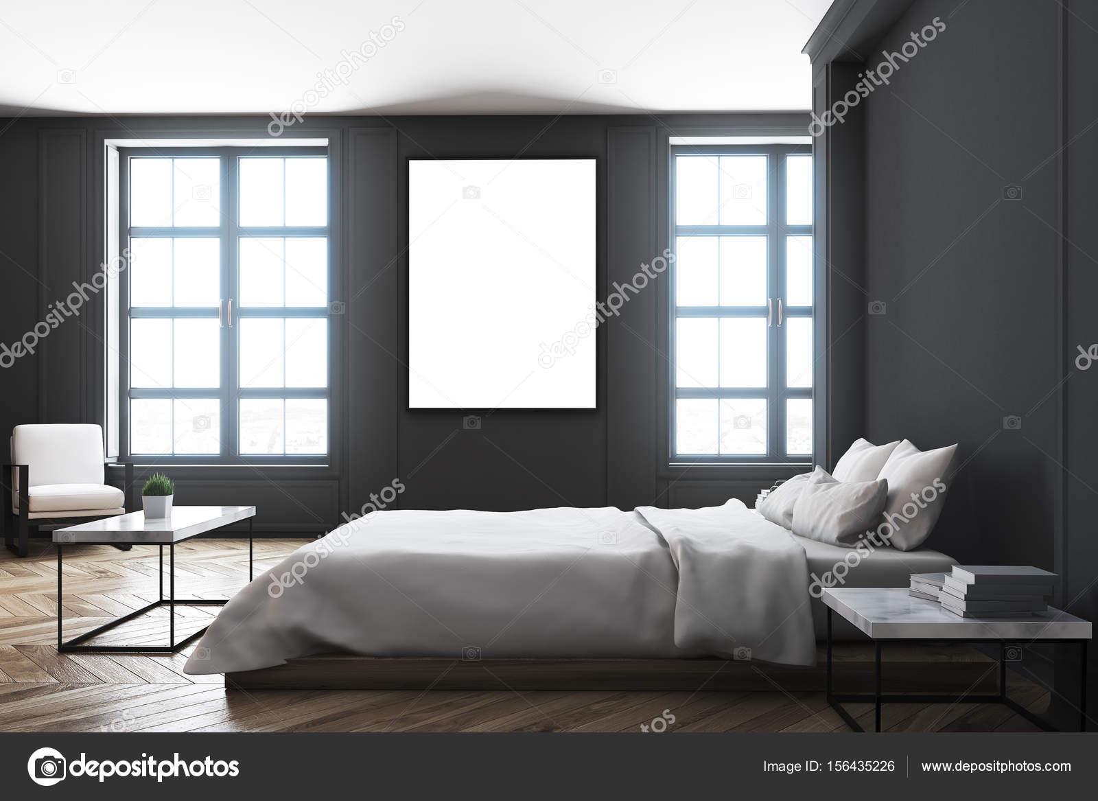 Côté de table intérieur, chambre à coucher noir — Photographie ...