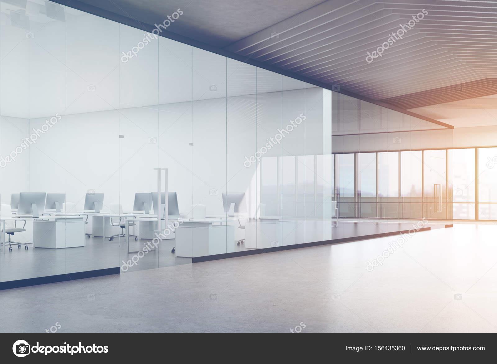 Bureau Transparent Moderne : Vue latérale transparente ouverte bureau tonique u photographie
