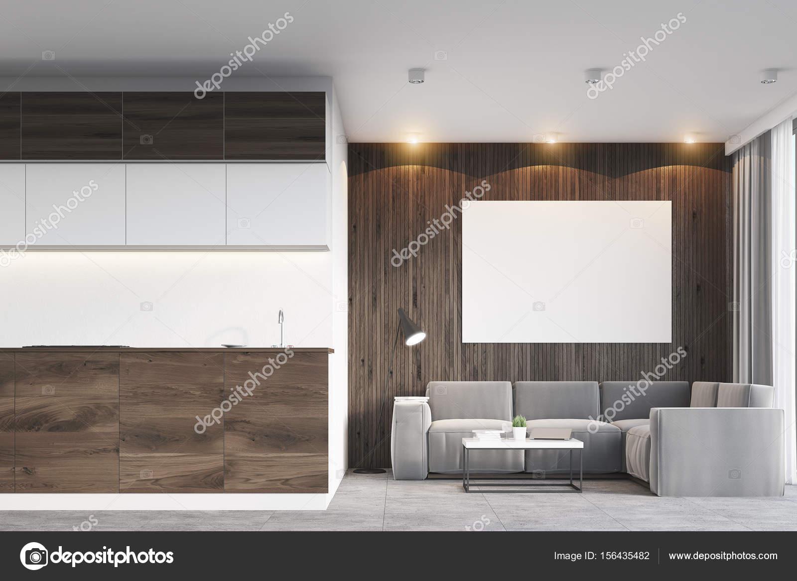 Donkere houten woonkamer en keuken — Stockfoto © denisismagilov ...
