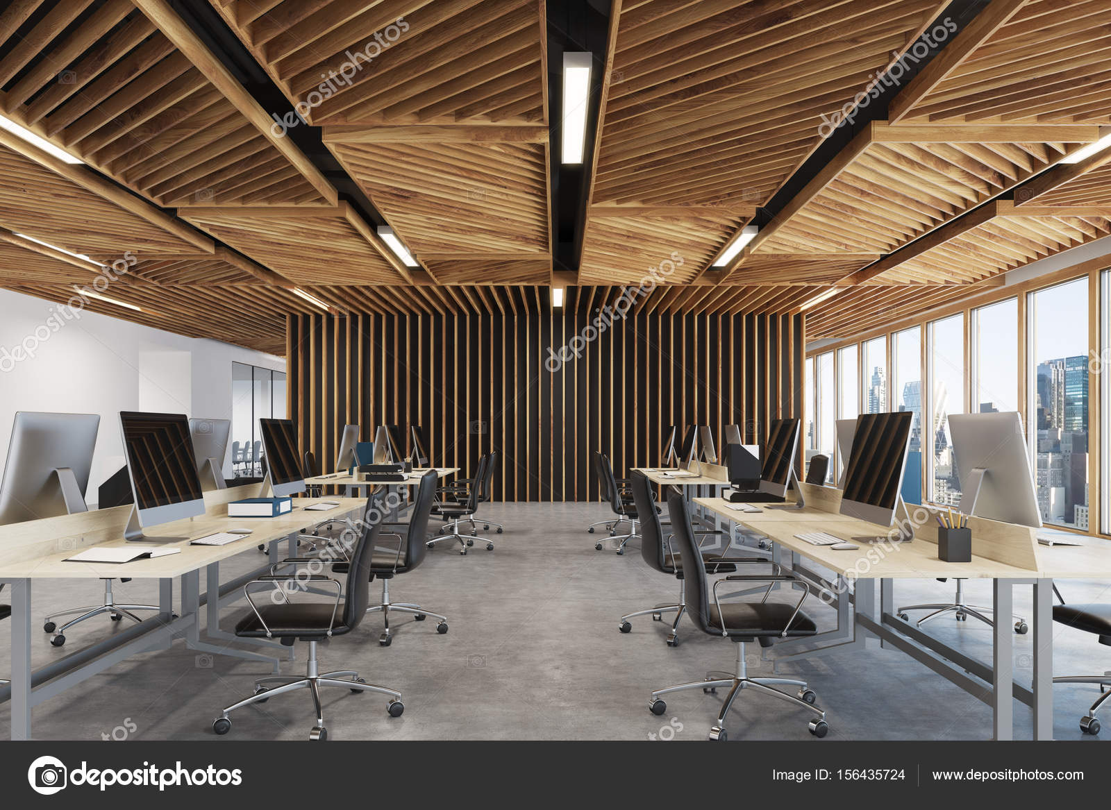 Devant bois de bureau open space u photographie denisismagilov