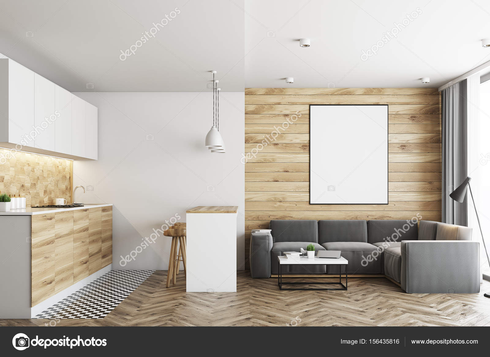 Living room and kitchen, wood — Stock Photo © denisismagilov #156435816