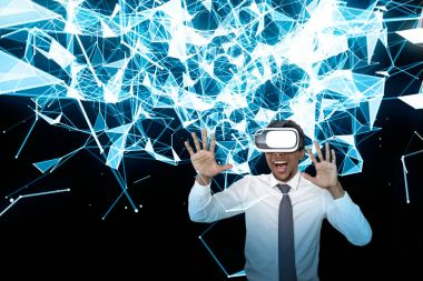 Excited African businessman in VR glass, lines