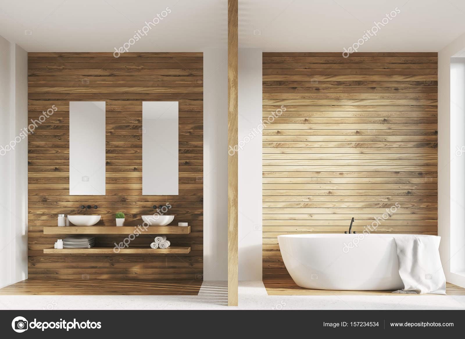 Aus Holz Bad Zwei Waschbecken Plakate Stockfoto C Denisismagilov