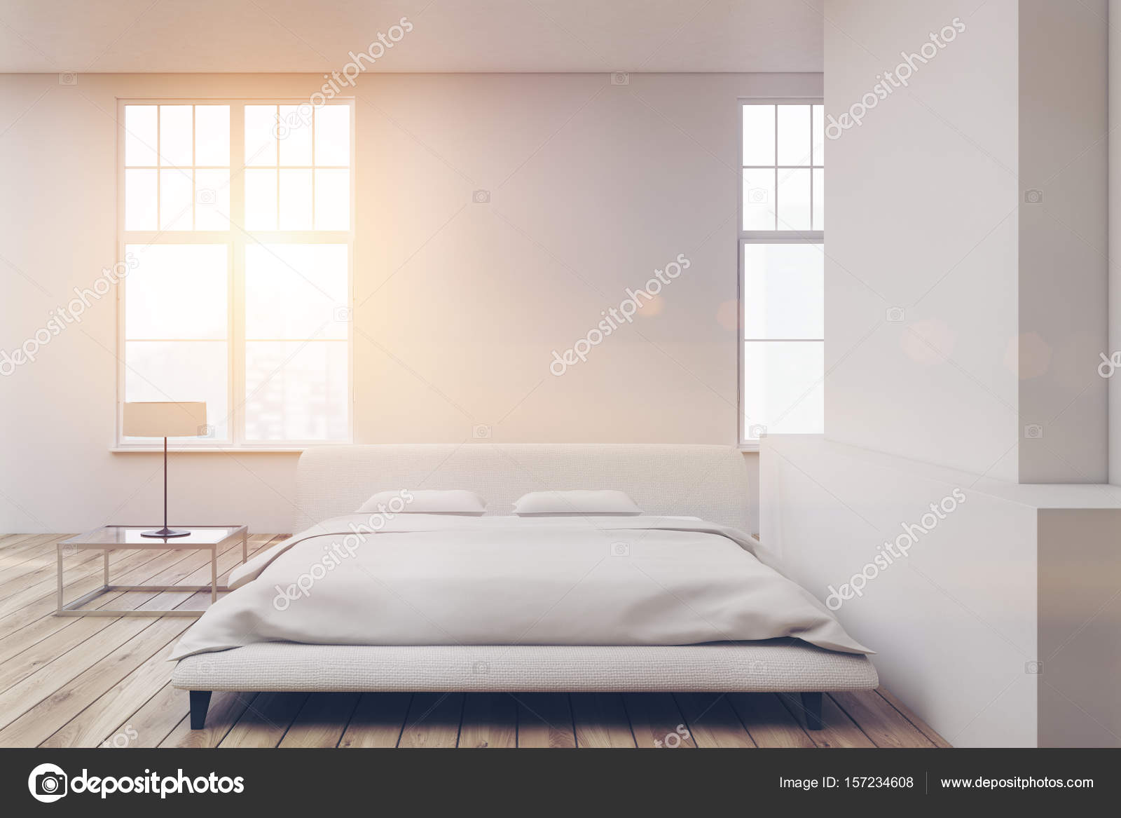 Houten vloer wit bed toned u2014 stockfoto © denisismagilov #157234608