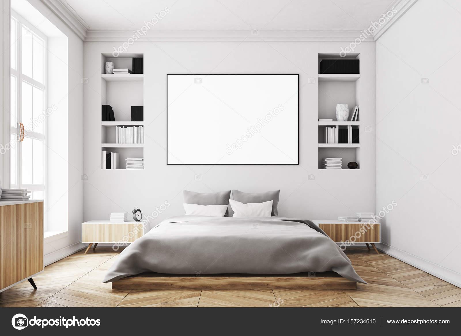 Weisse Schlafzimmer interior, Poster, vorne — Stockfoto ...