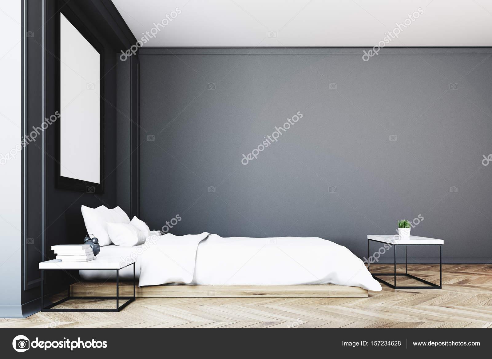 Côté d\'affiche intérieur, chambre à coucher noir — Photographie ...