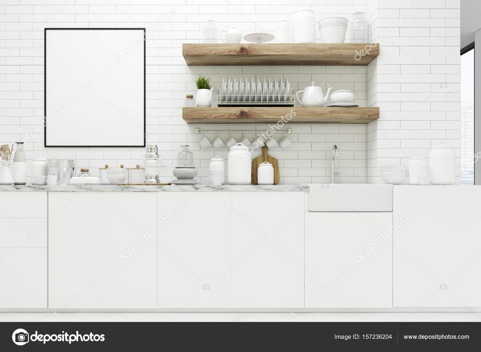 Witte keuken met poster planken u2014 stockfoto © denisismagilov #157236204