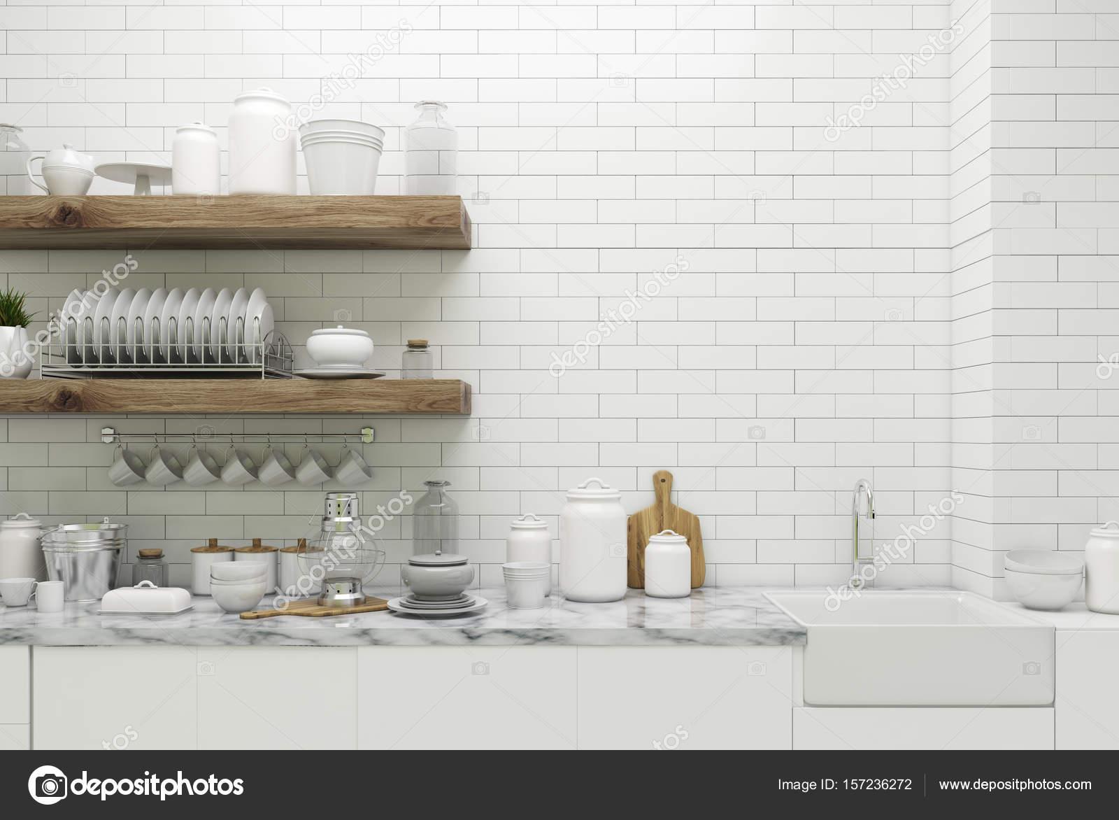 Cucina in muratura bianca con ripiani — Foto Stock © denisismagilov ...