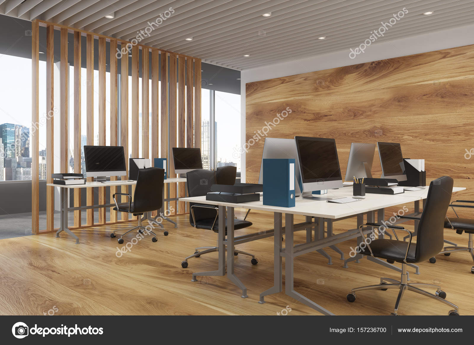 Houten kantoor interieur computers u stockfoto denisismagilov