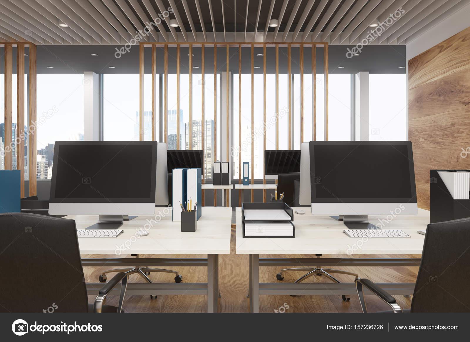 Houten kantoor interieur front view u stockfoto denisismagilov
