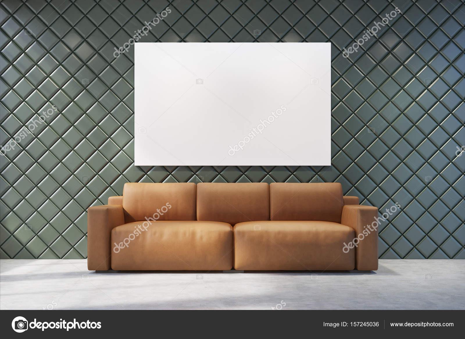 Braunen Sofa In Einem Grauen Wohnzimmer Stockfoto C Denisismagilov