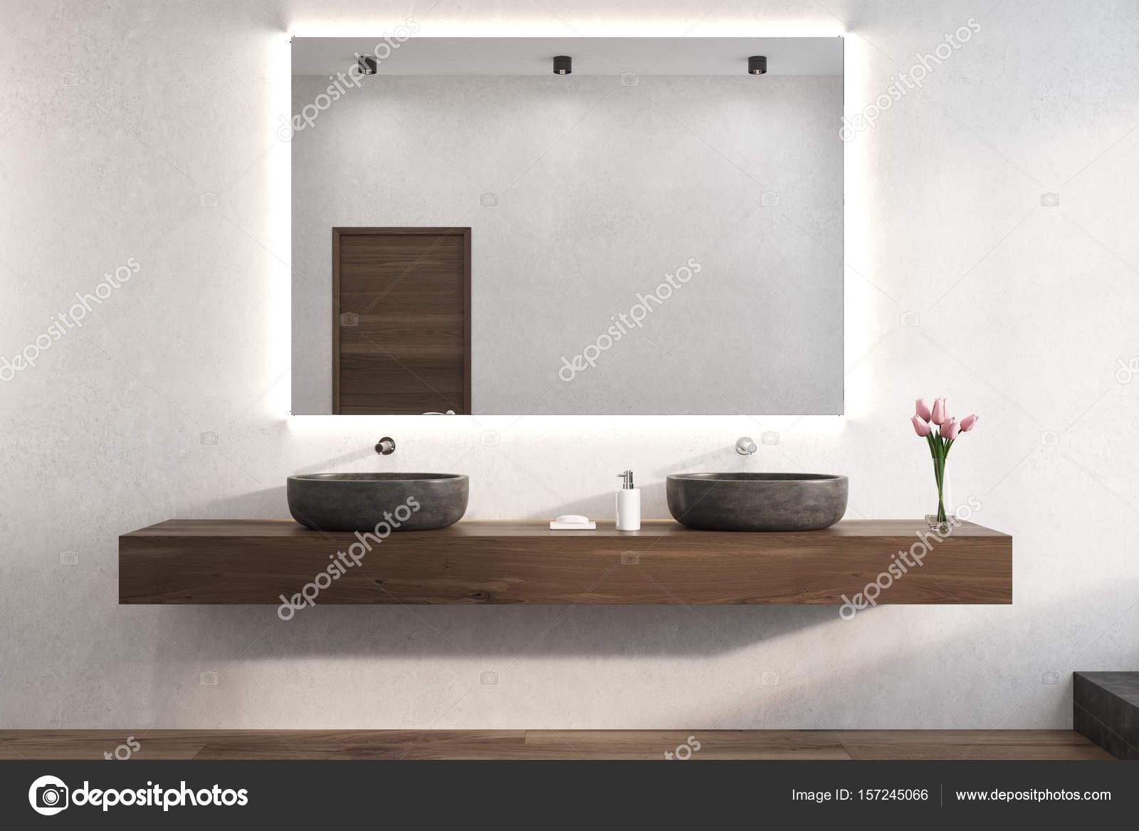 Lustro Na ścianie Biały łazienka Umywalki Zdjęcie