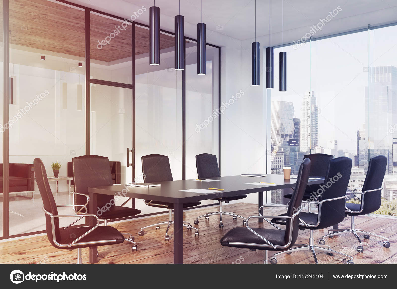 Panoramic Conference Room Interior Corner Toned Stock Photo - Corner conference table