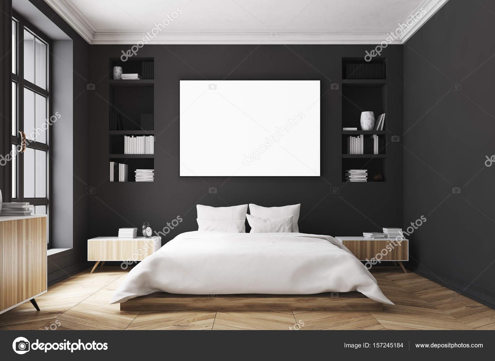 Negro cartel interior, dormitorio, frente — Foto de stock ...