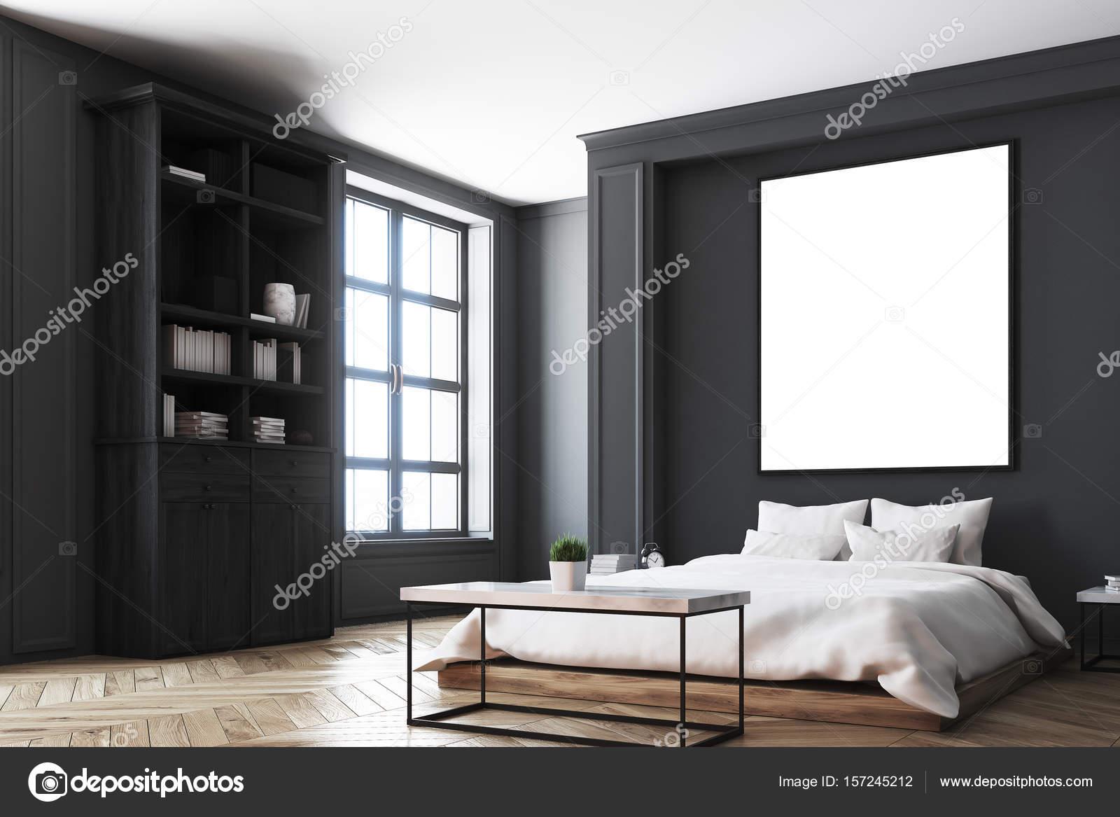 Zwarte slaapkamer interieur, poster hoek — Stockfoto ...