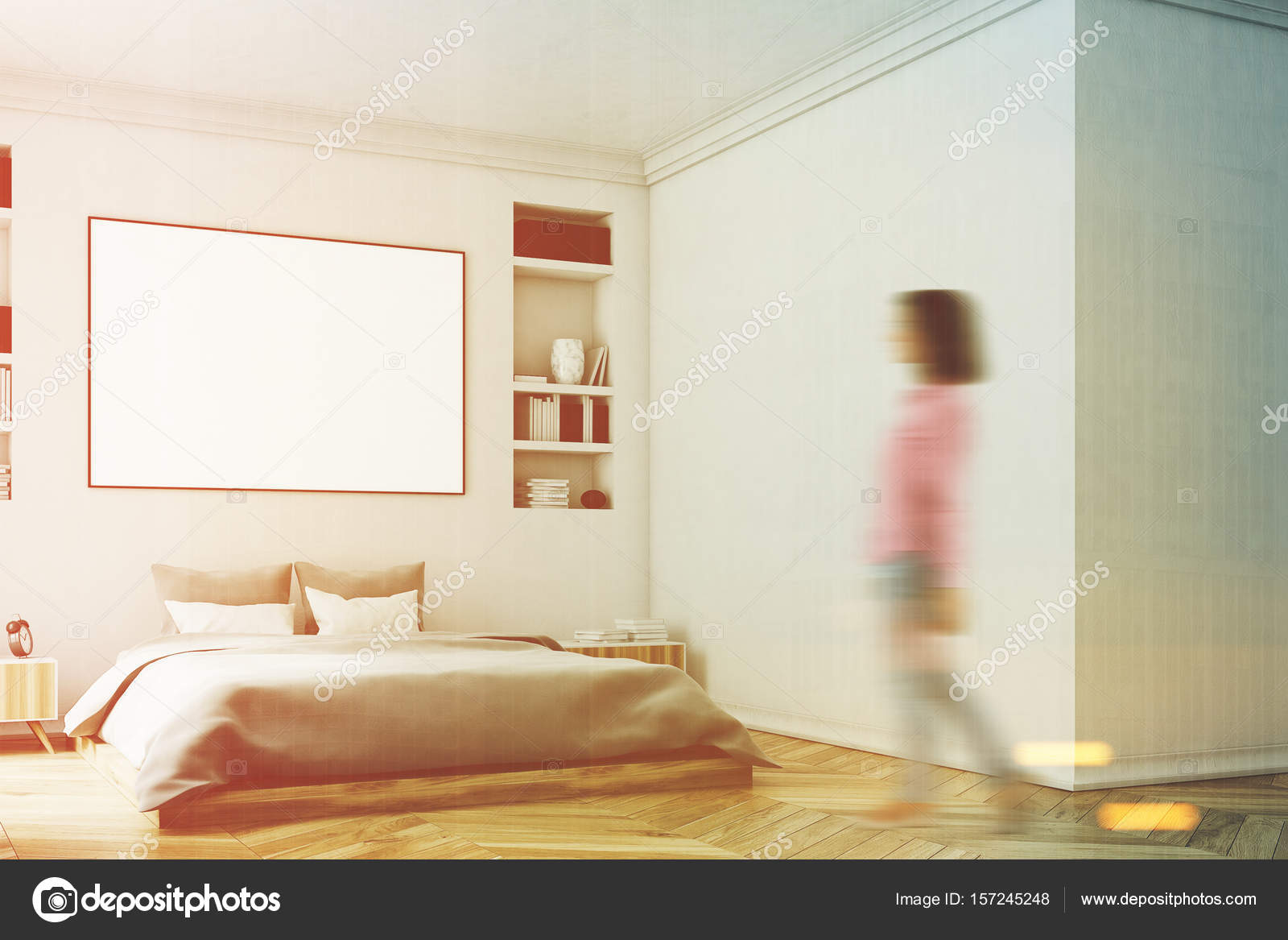 Wit slaapkamer interieur, vrouw, muur — Stockfoto © denisismagilov ...