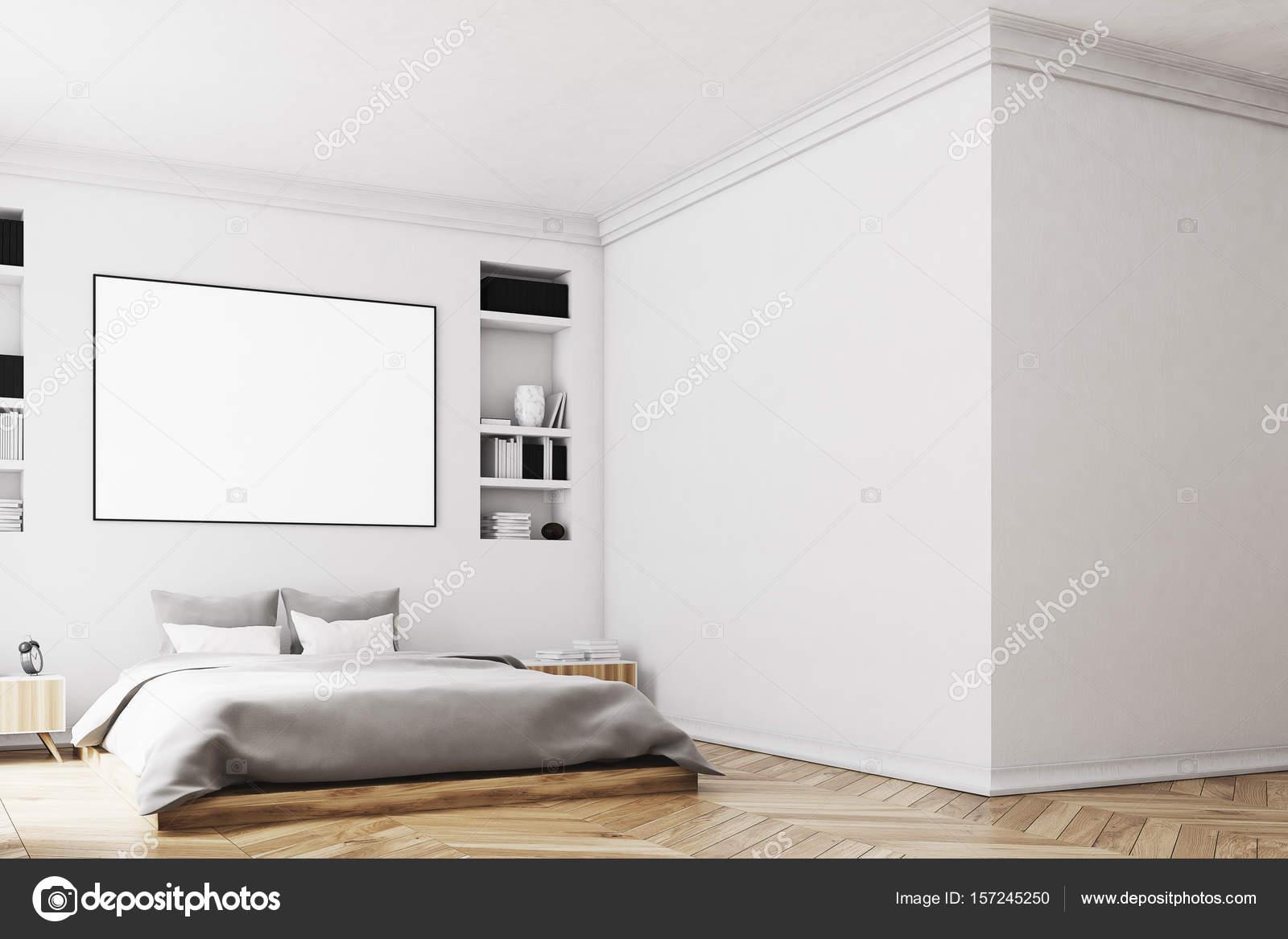Wit slaapkamer interieur, poster, muur — Stockfoto © denisismagilov ...