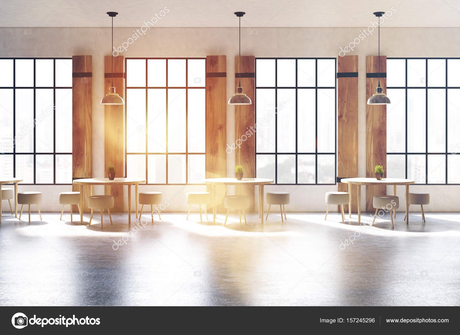 Fensterläden Café vorderen Innenansicht getönt — Stockfoto ...