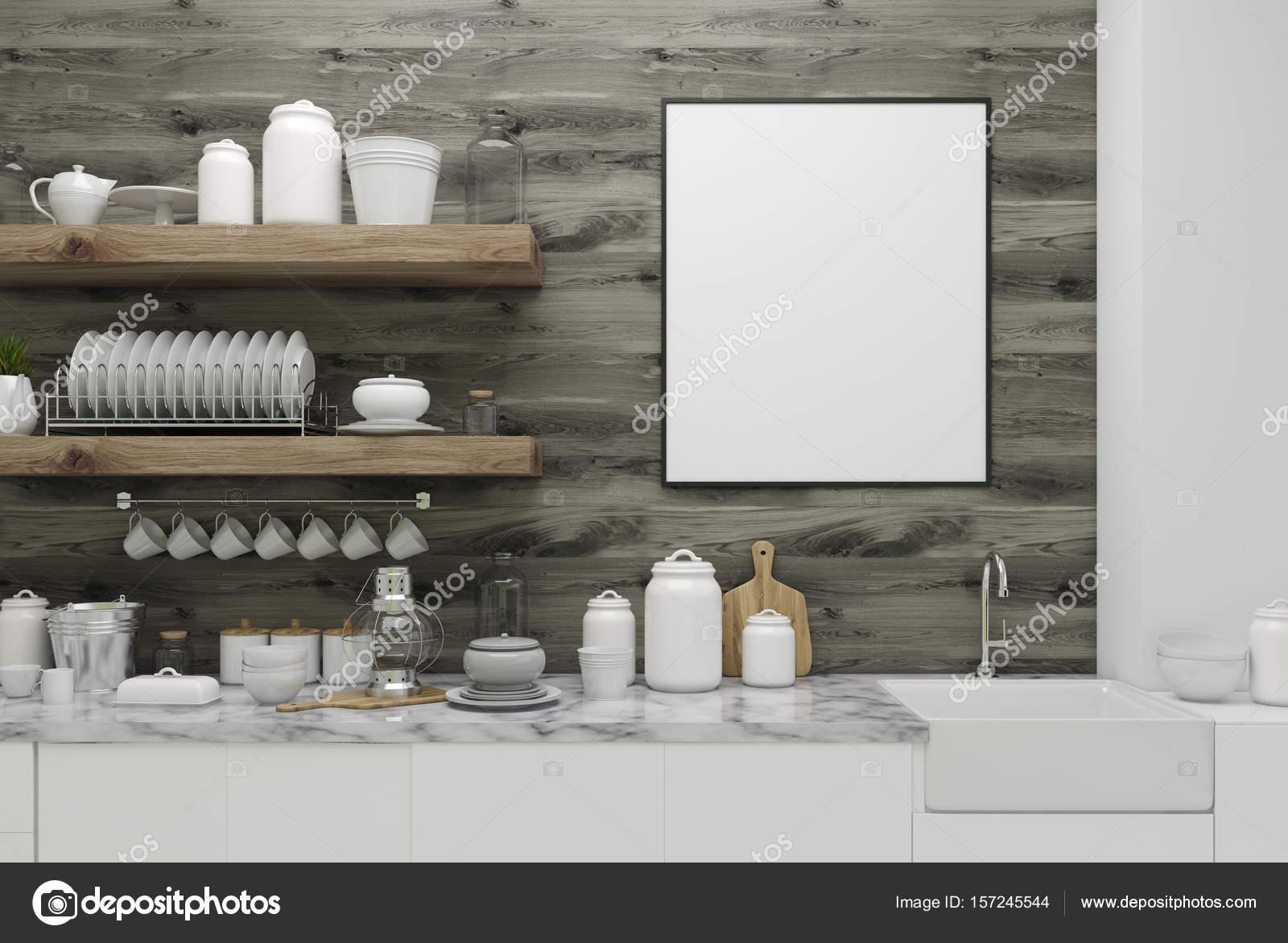 Houten keuken met poster planken u2014 stockfoto © denisismagilov