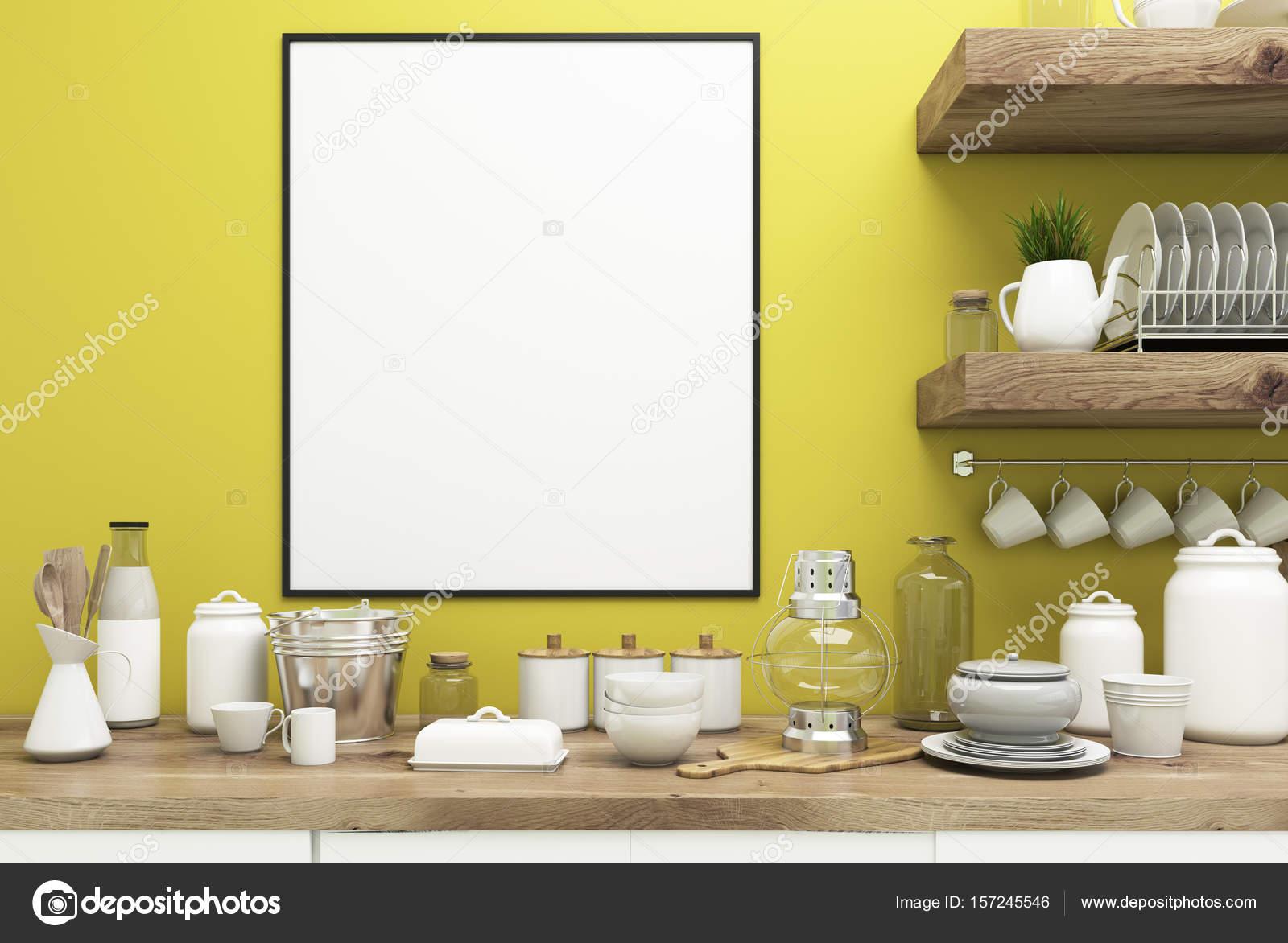 Gele keuken met poster planken close up u2014 stockfoto © denisismagilov
