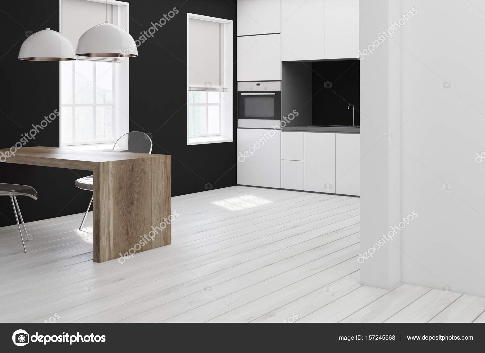 Cocina blanca y negra, rincón de la silla transparente — Fotos de ...