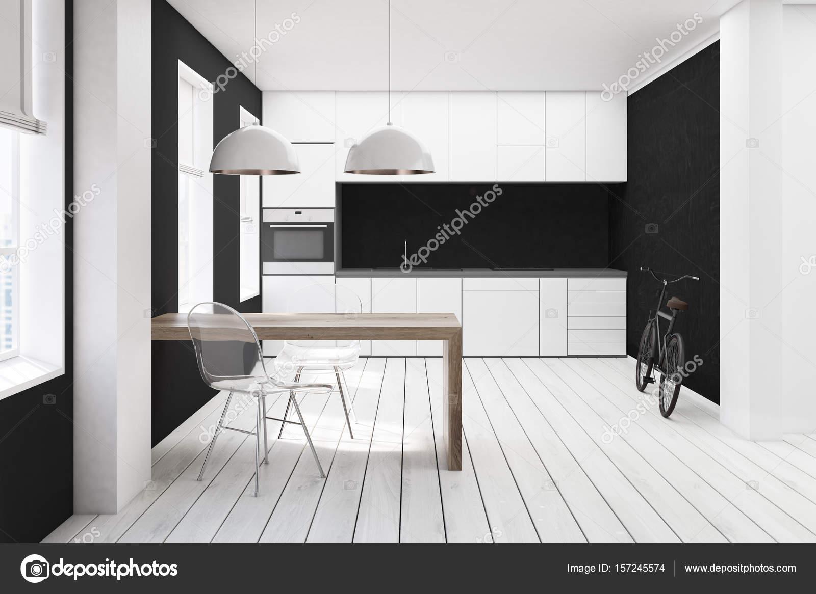 Cucina bianca e nera sedia trasparente u foto stock