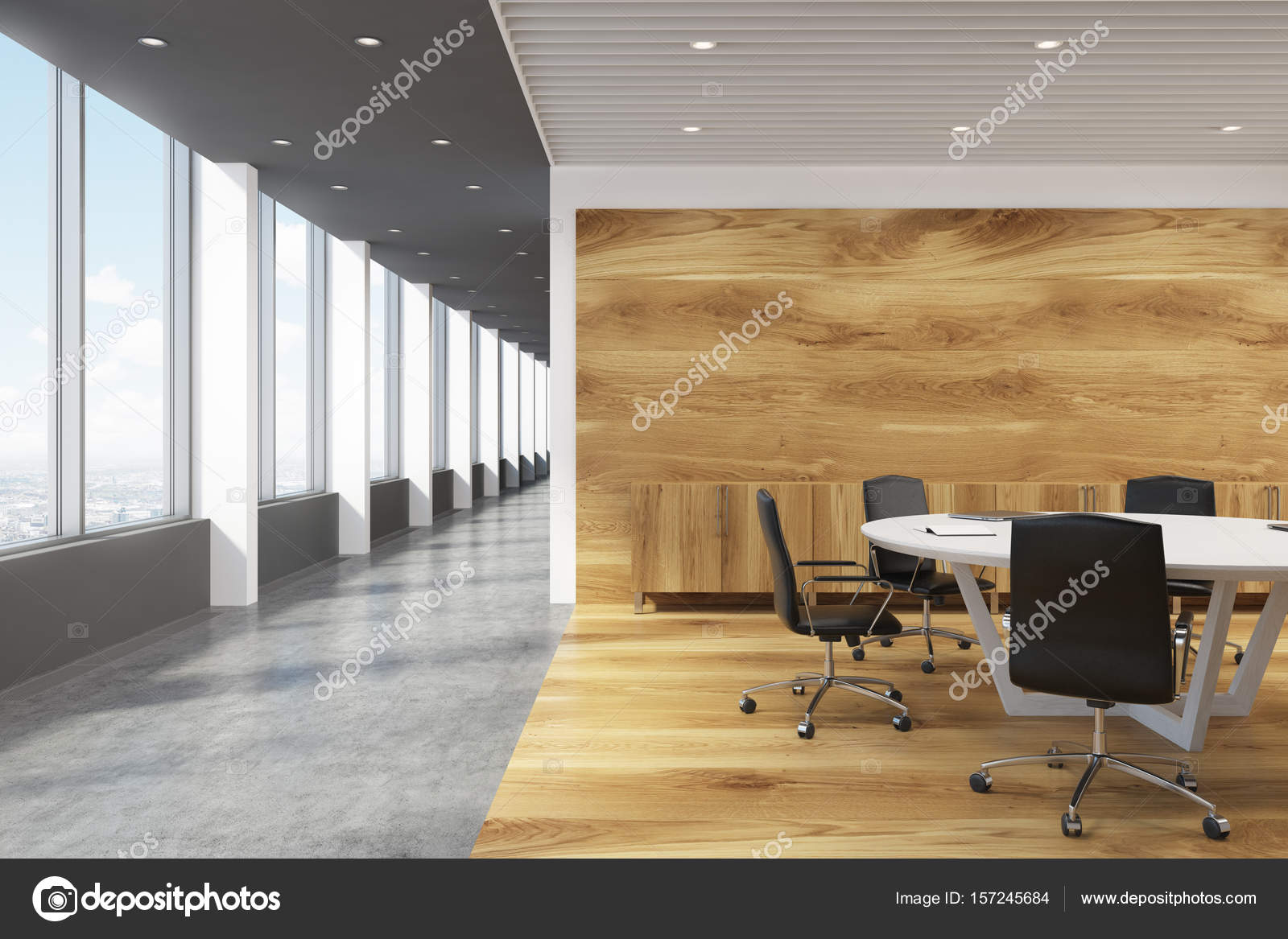 White Round Conference Room Table Lobby Stock Photo - Large white conference table