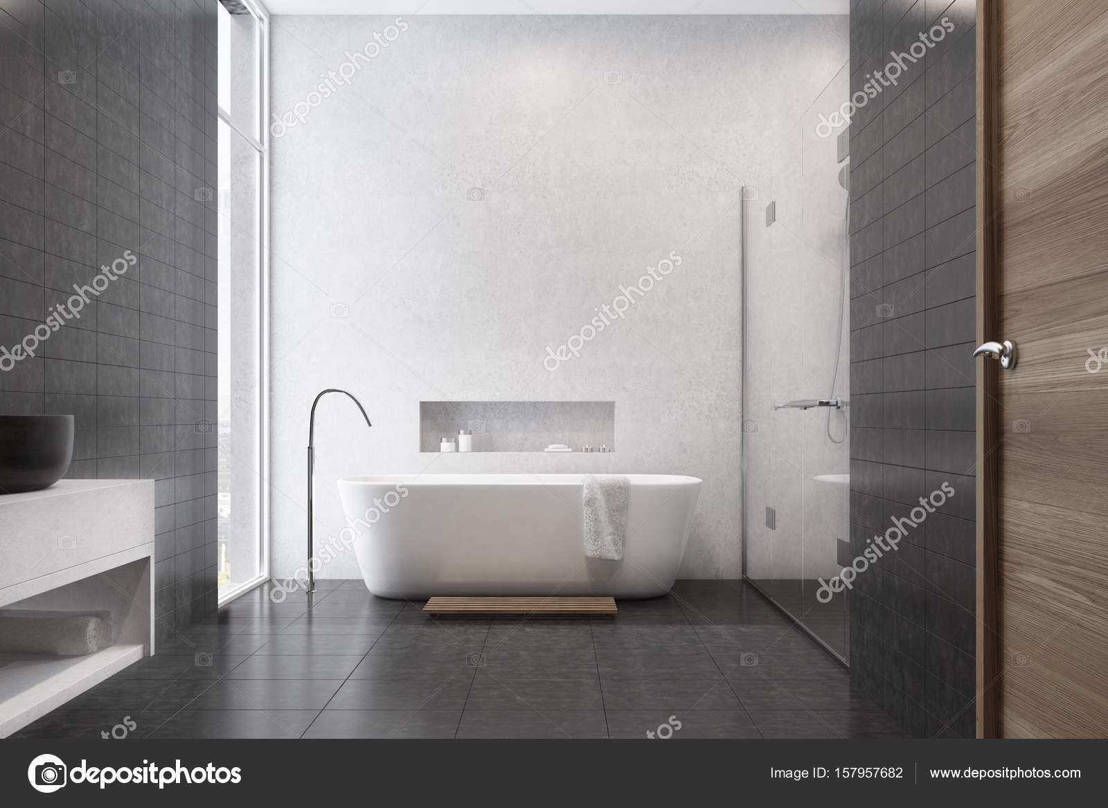 Witte Badkamer Wastafel : Witte badkamer zwarte tegels wastafel u stockfoto