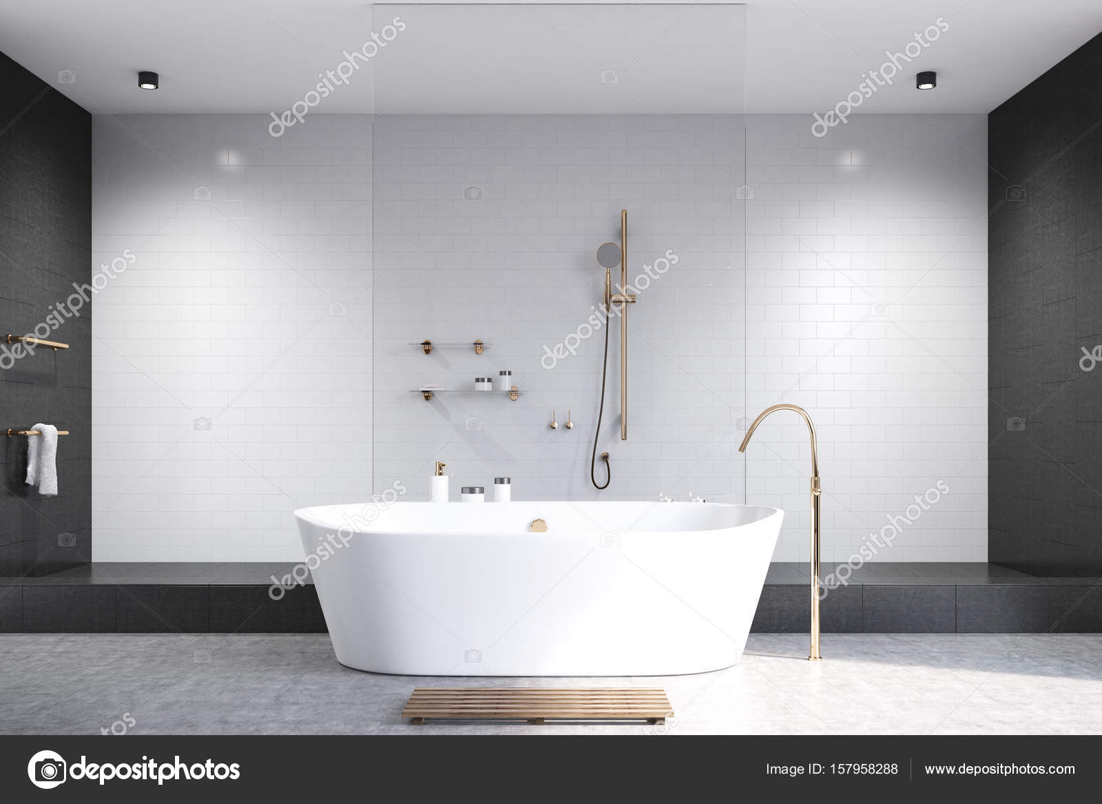 Bianco bagno con le mattonelle nere u2014 foto stock © denisismagilov