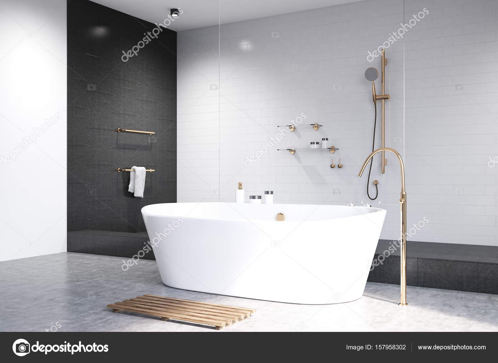 Witte badkamer met zwarte tegels zijde — Stockfoto © denisismagilov ...