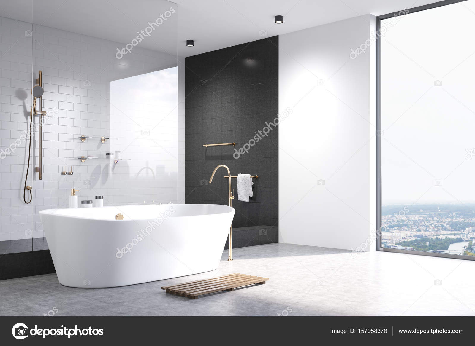White bathroom with black tiles corner — Stock Photo ...