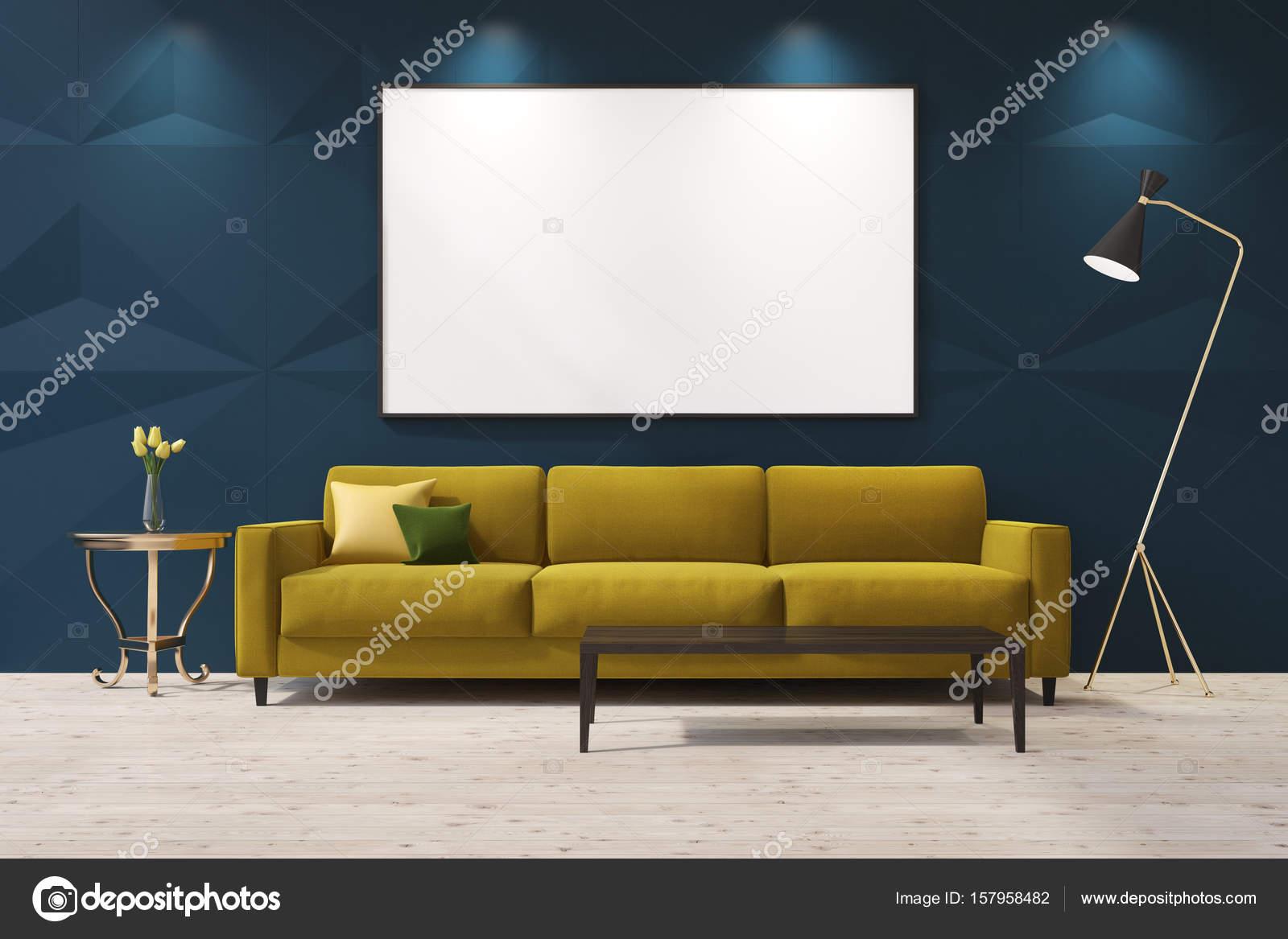 Gele sofa in een blauwe woonkamer — Stockfoto © denisismagilov ...