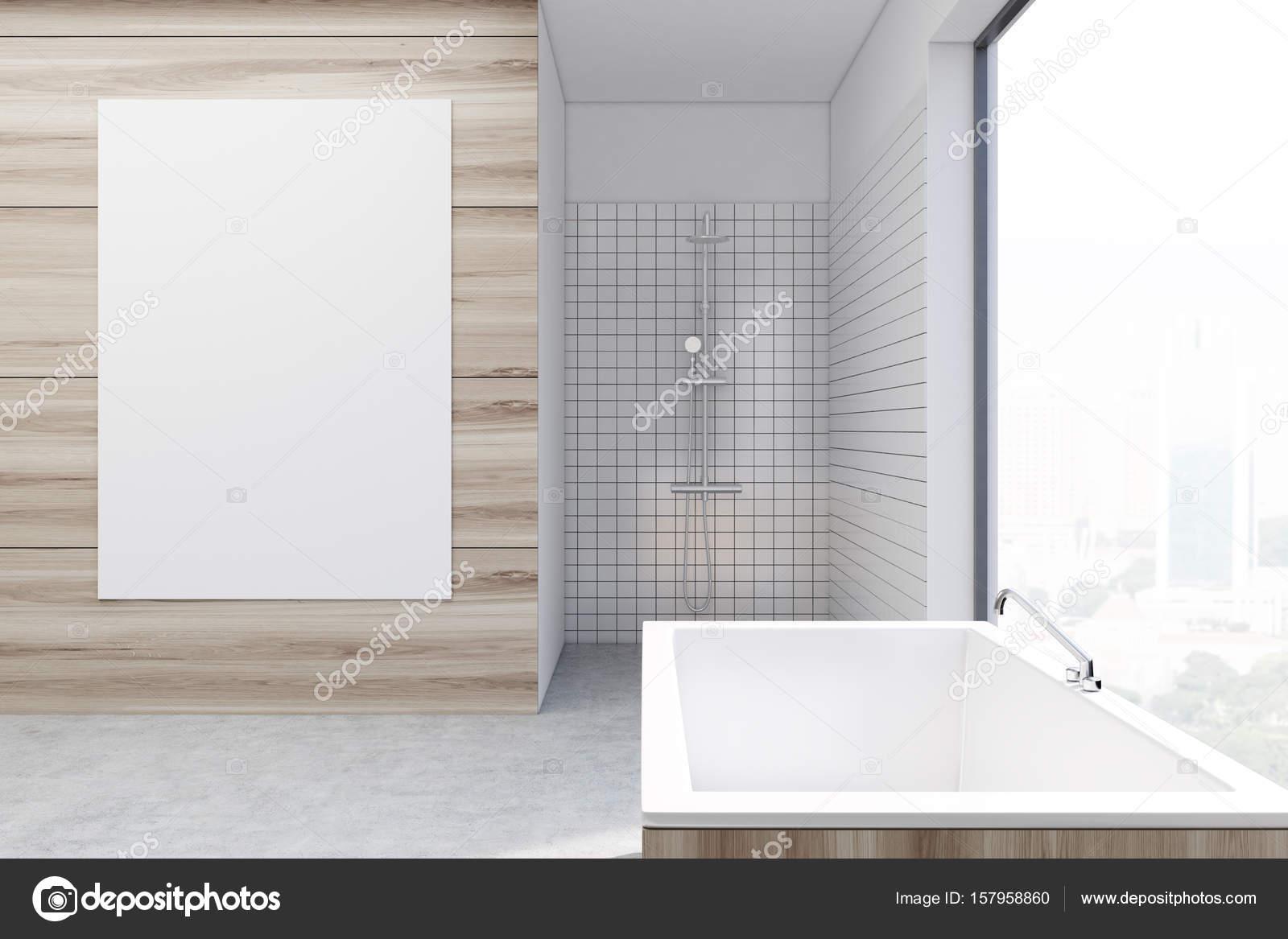 Wooden bathroom, vertical poster toned — Stock Photo ...